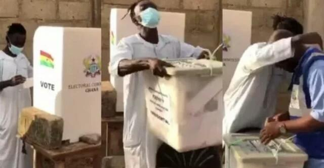 VIDEO: Funny moment Lil Win tried to steal ballot box just to make voters laugh after casting his vote