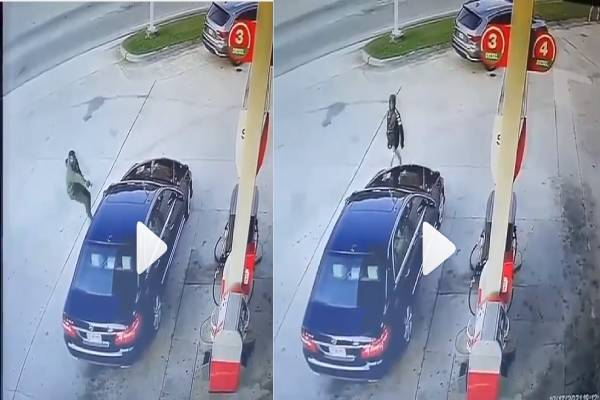 Guy Stops Man From Hijacking His Car At Fuel Station In Movie Style